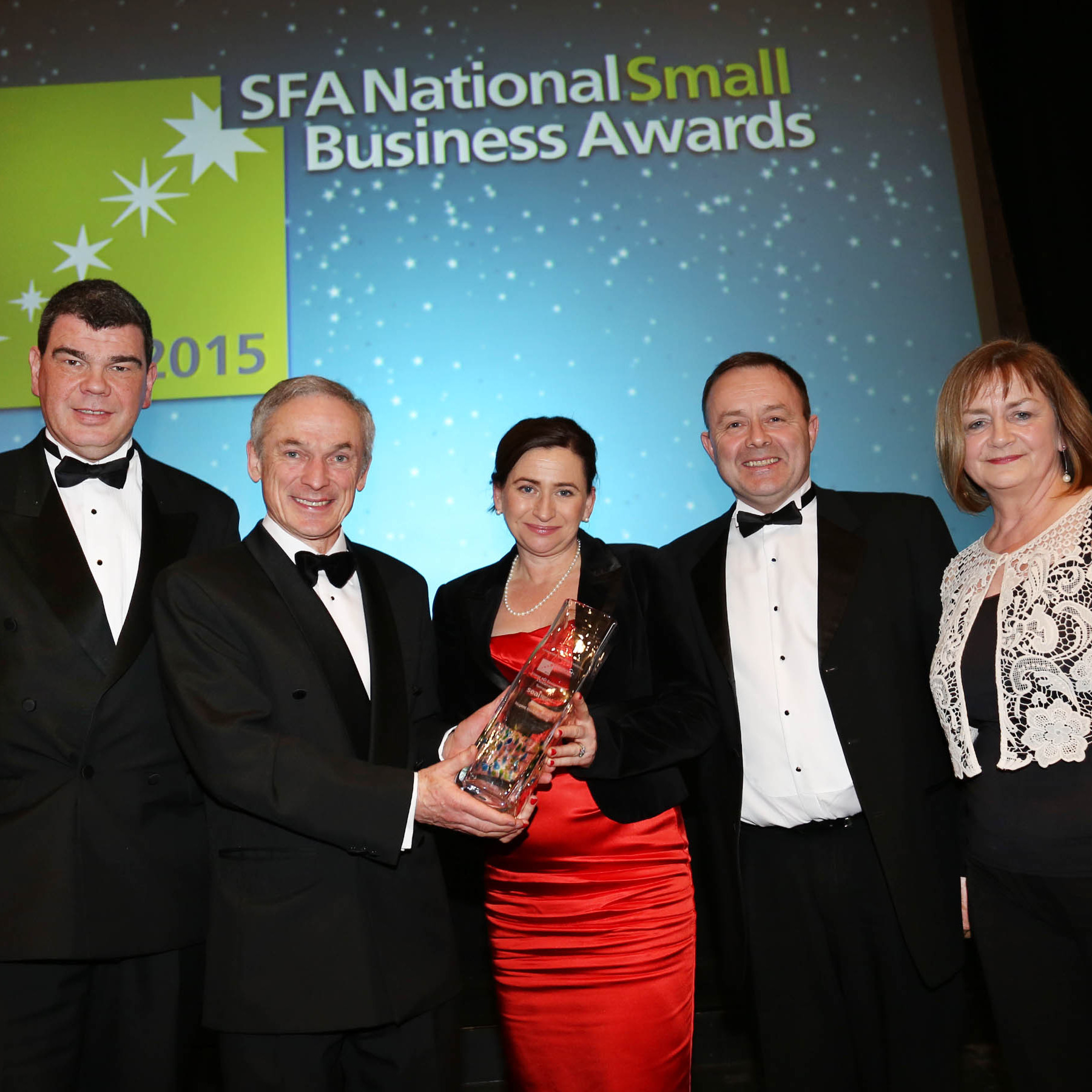 Environmental Winner - At the SFA National Small Business Awards 2015 today (Weds 4th March) are from (L-R)ÊAJ Noonan, Chairman, SFA, Richard Bruton TD,  Minister of Jobs, Enterprise and Innovation, Helen and Stephen Nugent, Nugent Manufacturing who were announcedÊwinners of the Environmental Sustainability category with Majella Kelleher,ÊHead of Energy DemandÊManagement,ÊSustainable Energy Authority of Ireland, sponsor of the Environmental Sustainability Award.